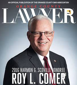 Roy Comer on the cover of OC Lawyer Magazine
